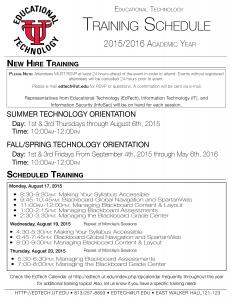 EdTech Training Schedule Final
