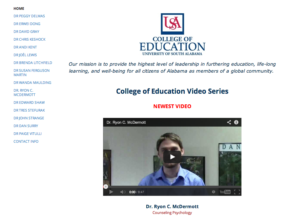 Screenshot of a website highlighting faculty