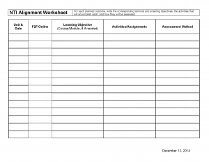 NTI Alignment Worksheet