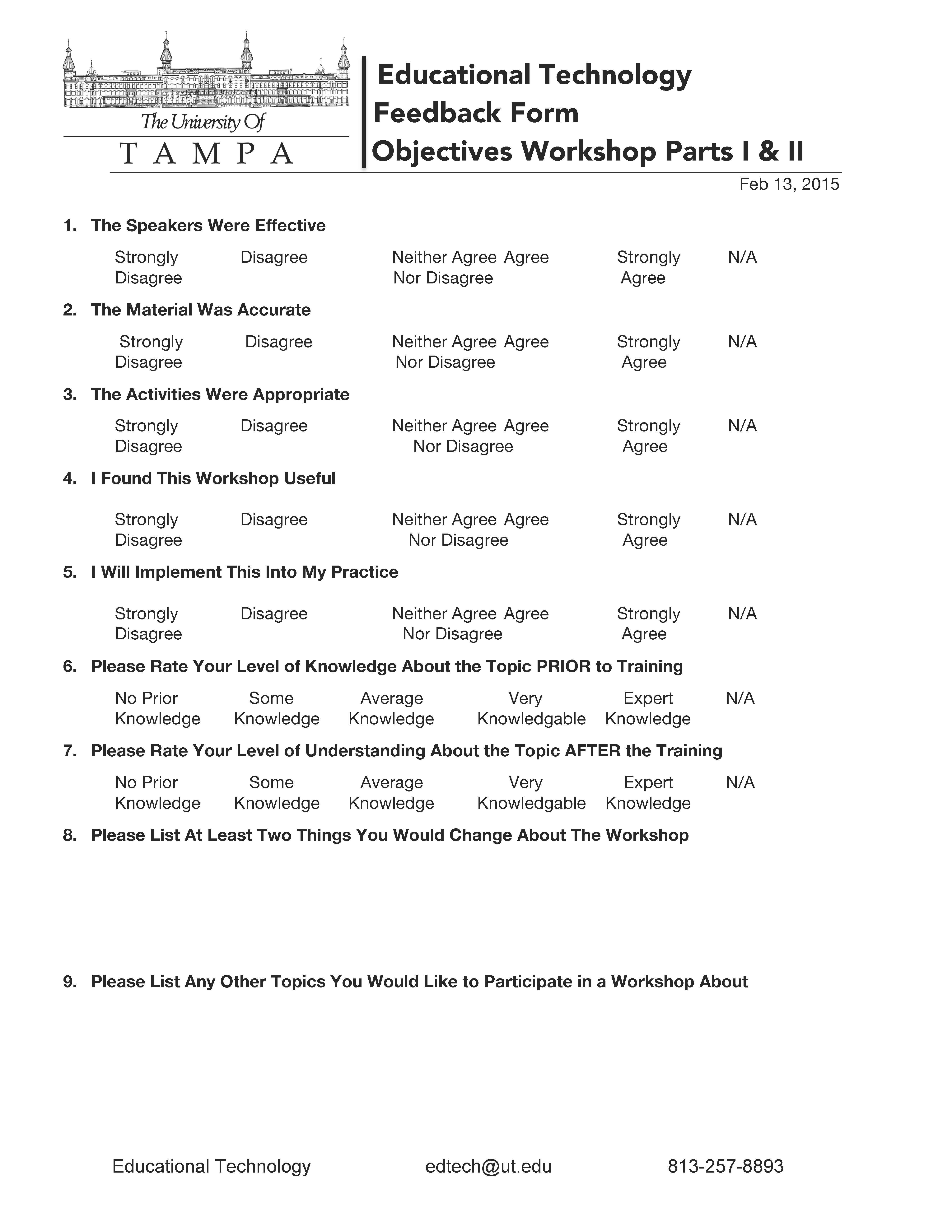 Objectives Workshop Feedback Form
