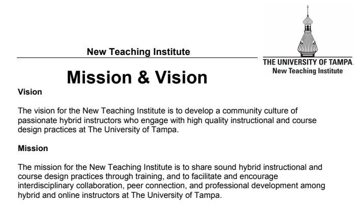 NTI Vision / Mission Draft, UT Hybrid Effort
