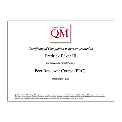 Quality Matters Peer Reviewer Certificate