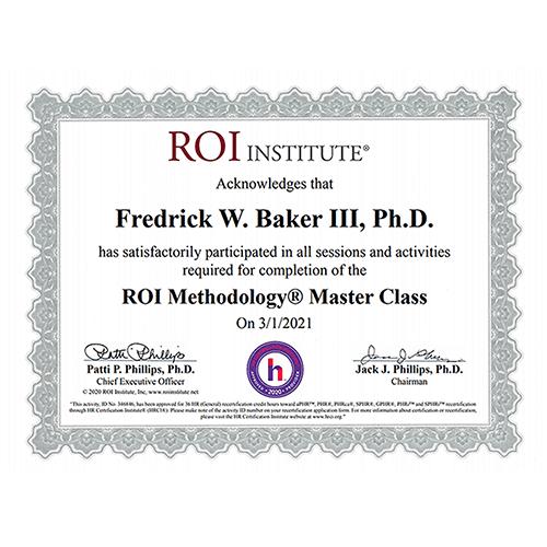 ROI Institute Master Certificate